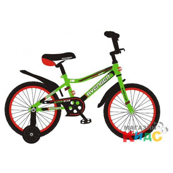 """Велосипед 16"""" AVENGER SUPER STAR, зеленый/черный"""