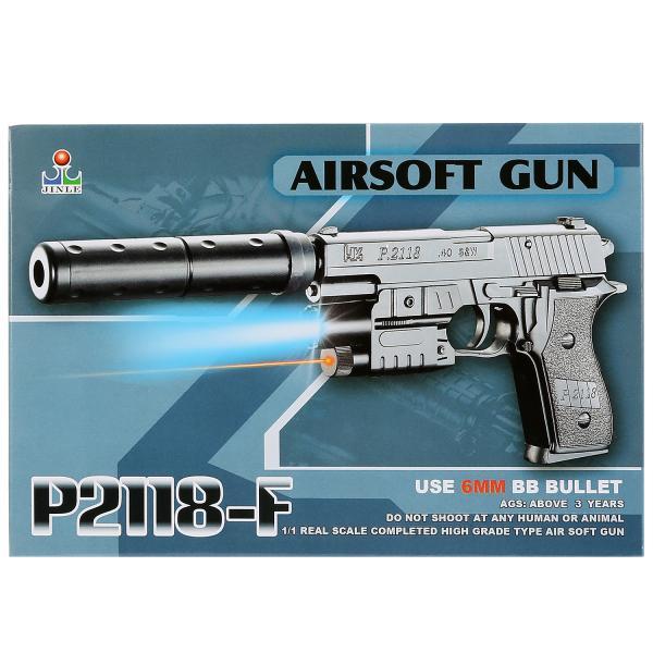 Пистолет (п) с лазер. прицелом, с глушителем, со светом, с пульками