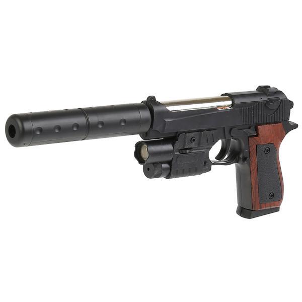 Пистолет (п) с лазер. прицелом, с глушителем, с фонариком, с пульками