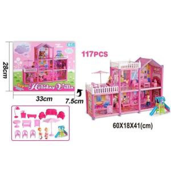 Дом для кукол, с мебелью и фигурками
