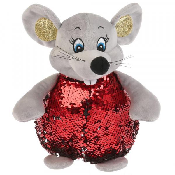 Игрушка мягкая Мышка красная блестящая, 16 см