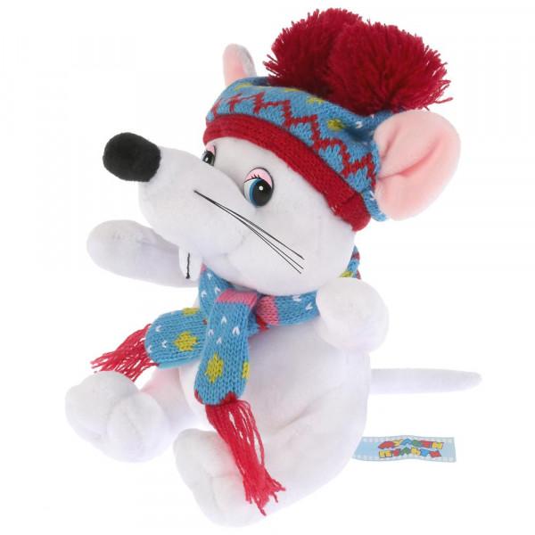 Игрушка мягкая Мышка белая в шапке с двумя помпонами, 15 см