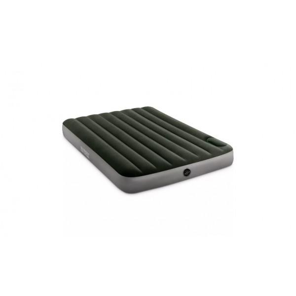 INTEX Кровать надувная DOWNY BED, (fiber-tech) встроенный ножной насос