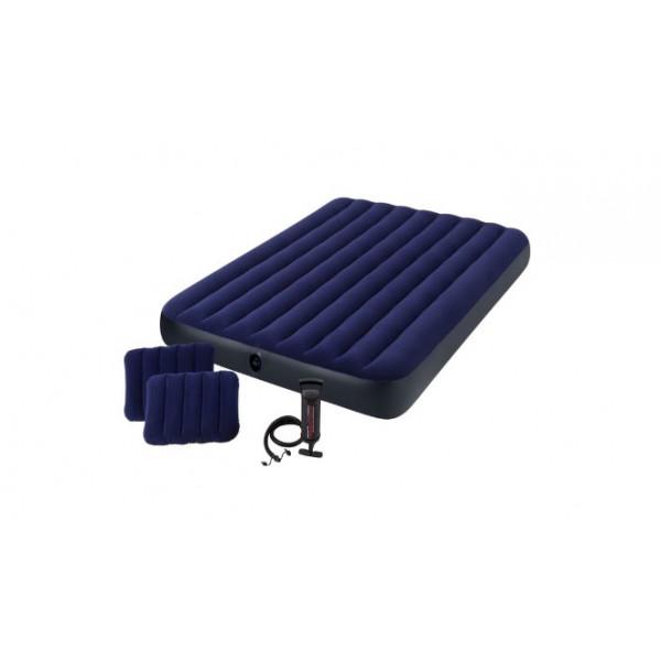 Матрас надувной Classic Downy Fiber-Tech,152 x 203 х 25 см, с ручным насосом